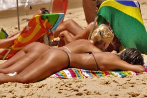 2 females sunbathing